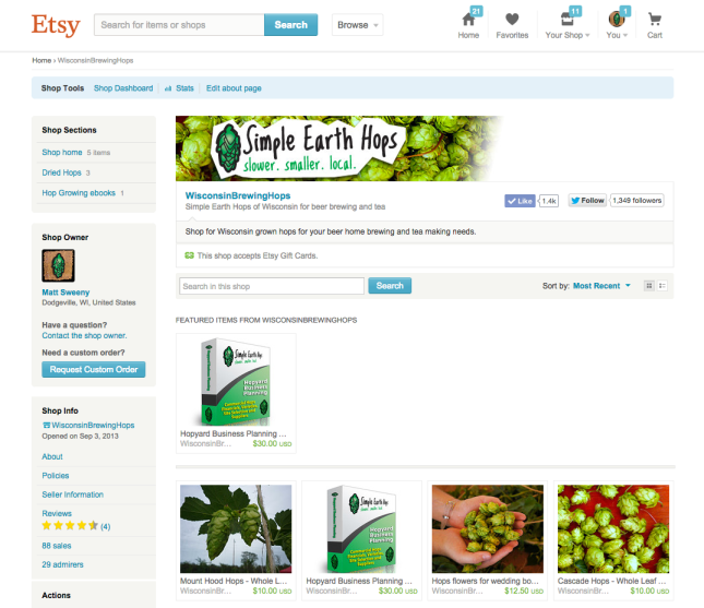 Wisconsin Hops on Etsy and how to promote your shop